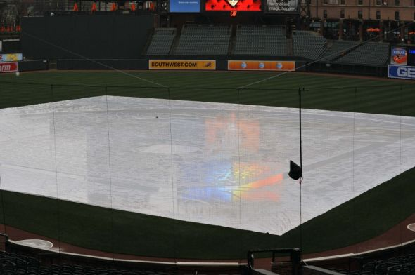 Apr 15, 2014; Baltimore, MD, USA; General view of tarp-covered field as the game between the Tampa Bay Rays and the Baltimore Orioles has been postponed due to rain at Oriole Park at Camden Yards. Mandatory Credit: Joy R. Absalon-USA TODAY Sports