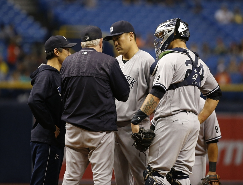 9556507-gary-sanchez-larry-rothschild-masahiro-tanaka-mlb-new-york-yankees-tampa-bay-rays