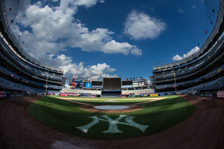 Aug 14, 2016; Bronx, NY, USA; General view of Yankee Stadium after a game against the Tampa Bay Rays. The Tampa Bay Rays won 12-3. Mandatory Credit: Bill Streicher-USA TODAY Sports