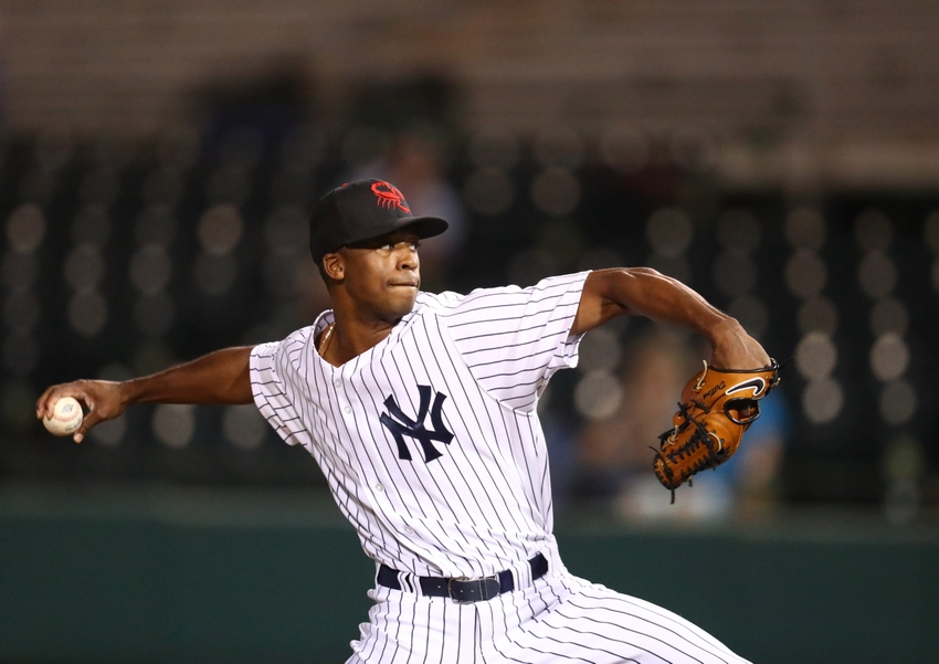Oct 18, 2016; Scottsdale, AZ, USA; Scottsdale Scorpions pitcher Dillon Tate of the New York Yankees against the Surprise Saguaros during an Arizona Fall League game at Scottsdale Stadium. Mandatory Credit: Mark J. Rebilas-USA TODAY Sports
