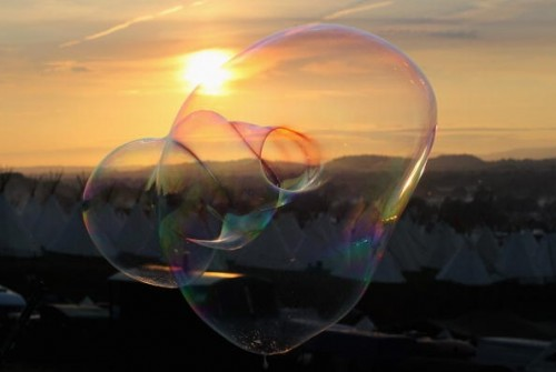 Bubbles floating through the air.