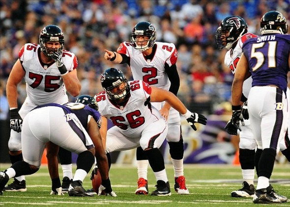 Aug 15, 2013; Baltimore, MD, USA; Atlanta Falcons quarterback Matt Ryan (2) communicates with the offensive line in the first quarter against the Baltimore Ravens at M