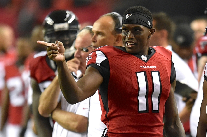 Aug 23, 2014; Atlanta, GA, USA; Atlanta Falcons wide receiver Julio Jones (11) shown on the sideline against the Tennessee Titans during the second half at the Georgia Dome. The Titans defeated the Falcons 24-17. Mandatory Credit: Dale Zanine-USA TODAY Sports