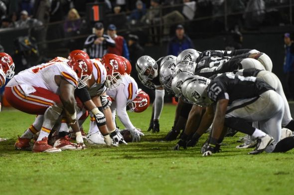 November 20, 2014; Oakland, CA, USA; General view of the line of scrimmage between the Oakland Raiders and the Kansas City Chiefs during the fourth quarter at O.co Coliseum. The Raiders defeated the Chiefs 24-20. Mandatory Credit: Kyle Terada-USA TODAY Sports