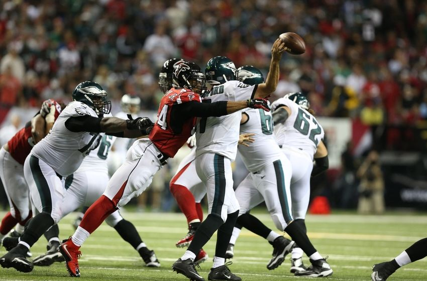 Sep 14, 2015; Atlanta, GA, USA; Atlanta Falcons linebacker Vic Beasley (44) hits Philadelphia Eagles quarterback Sam Bradford (7) as he releases the ball int he second quarter at the Georgia Dome. Mandatory Credit: Jason Getz-USA TODAY Sports