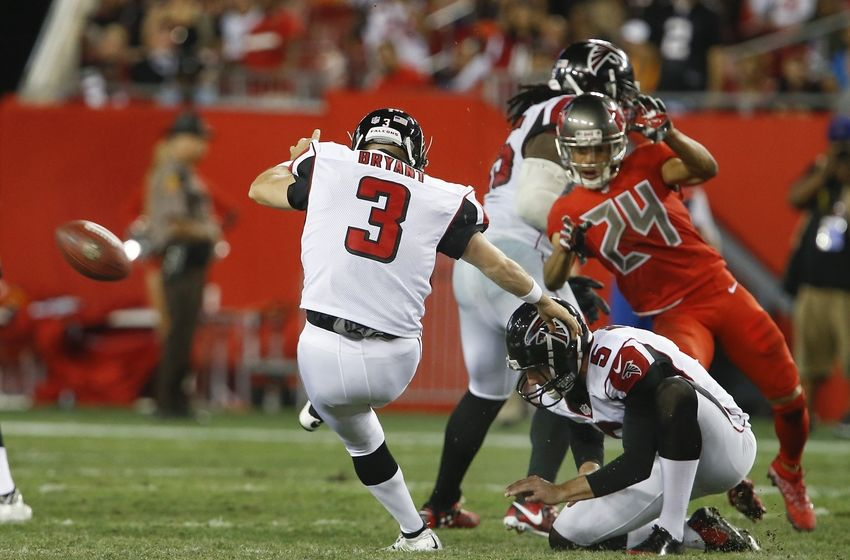 Nov 3, 2016; Tampa, FL, USA; Atlanta Falcons kicker Matt Bryant (3) kicks a 50 yard field goal as punter Matt Bosher (5) holds during the second half of a football game at Raymond James Stadium. The Falcons won 43-28. Mandatory Credit: Reinhold Matay-USA TODAY Sports