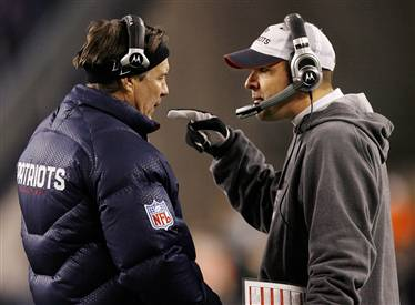 Josh McDaniels and Bill Belichick (NBC Sports)
