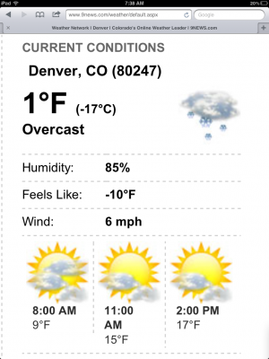 The high temperature forecasted for last January when Baltimore visited Denver was 22 degrees - I don't think it made it!