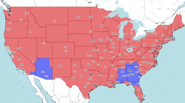 If you're in the red, you will be getting the Broncos vs. Redskins game. (Photo courtesy of 506 Sports)