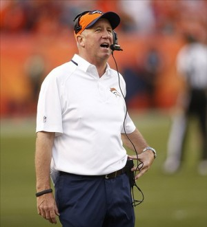 Oct 27, 2013; Denver, CO, USA; Denver Broncos head coach John Fox during the second half against the Washington Redskins at Sports Authority Field at Mile High. The Broncos won 45-21. Mandatory Credit: Chris Humphreys-USA TODAY Sports