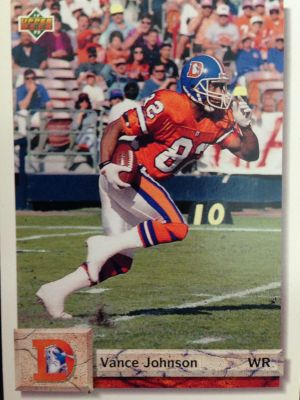 "Former ""Amigo"" Vance Johnson in action on his 1992 Upper Deck trading card."