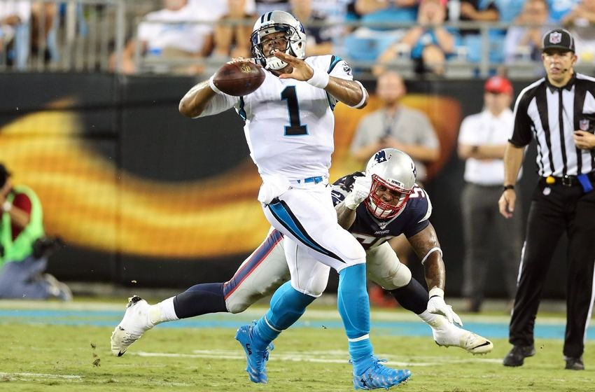 0329799b7cb Aug 26, 2016; Charlotte, NC, USA; Carolina Panthers quarterback Cam Newton  (1) scrambles to control the ball pressured by New England Patriots middle  ...