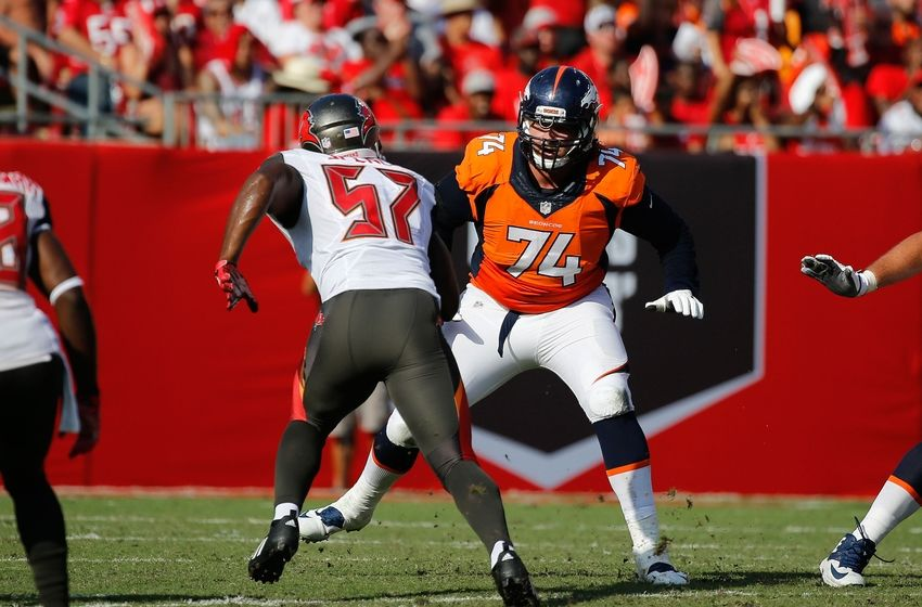Oct 2, 2016; Tampa, FL, USA; Denver Broncos offensive tackle Ty Sambrailo (74) blocks as Tampa Bay Buccaneers defensive end Noah Spence (57) rushes during the first half at Raymond James Stadium. Mandatory Credit: Kim Klement-USA TODAY Sports
