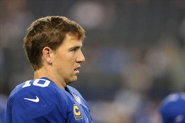 Sep 8, 2013; Arlington, TX, USA; New York Giants quarterback Eli Manning (10) prior to the game against the Dallas Cowboys at AT