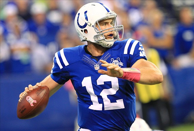 Oct 6, 2013; Indianapolis, IN, USA; Indianapolis Colts quarterback Andrew Luck (12) passes the ball during the first half against the Seattle Seahawks at Lucas Oil Stadium. Mandatory Credit: Pat Lovell-USA TODAY Sports