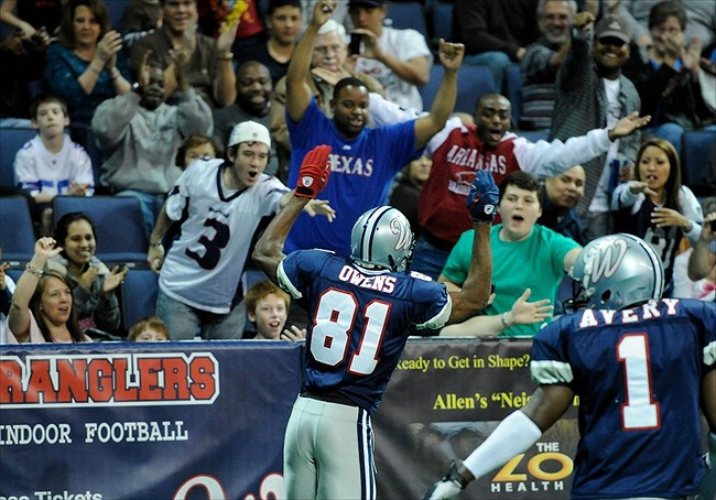 Feb 25, 2011; Allen, TX USA; Allen Wranglers wide receiver Terrell Owens (81) celebrates with the crowd during the second quarter against the Wichita Wild at the Allen Events Center.  Mandatory Credit: Jerome Miron-USA TODAY Sports