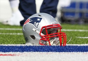 General view of of a helmet used by a New England Patriots player before a game against the Buffalo Bills. Timothy T. Ludwig-USA TODAY Sports
