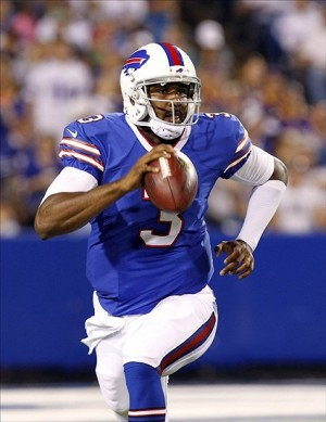 Buffalo Bills quarterback E.J. Manuel (3) drops back to pass against the Minnesota Vikings during the second half at Ralph Wilson Stadium. Bills beat the Vikings 20-16. Mandatory Credit: Kevin Hoffman-USA TODAY Sports