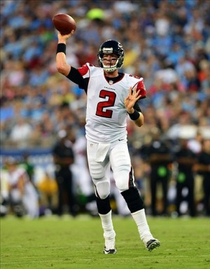 Aug 24, 2013; Nashville, TN, USA; Atlanta Falcons quarterback Matt Ryan (2) passes against the Tennessee Titans during the first half at LP Field. Mandatory Credit: Don McPeak-USA TODAY Sports