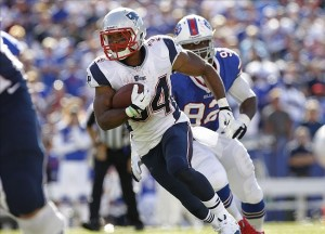 Alex Carrington (92) pursues New England Patriots running back Shane Vereen (34) during the fourth quarter at Ralph Wilson Stadium. Patriots beat the Bills 23-21. Mandatory Credit: Kevin Hoffman-USA TODAY Sports
