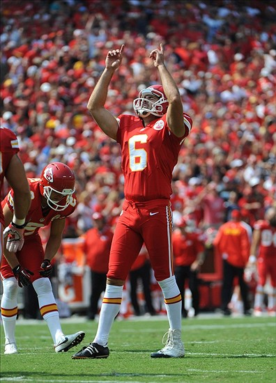 Sep 15, 2013; Kansas City, MO, USA; Kansas City Chiefs kicker Ryan Succop (6) celebrates after kicking a extra point against the Dallas Cowboys in the second half at Arrowhead Stadium. Kansas City won the game 17-16. Mandatory Credit: John Rieger-USA TODAY Sports