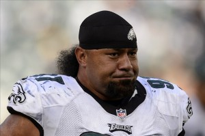 Sep 15, 2013; Philadelphia, PA, USA; Philadelphia Eagles defensive tackle Isaac Sopoaga (97) leaves the field after playing the San Diego Chargers at Lincoln Financial Field. The Chargers defeated the Eagles 33-30. Mandatory Credit: Howard Smith-USA TODAY Sports