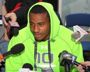 Feb 23, 2014; Indianapolis, IN, USA; Washington State strong safety Deone Bucannon speaks to the media during the 2014 NFL Combine at Lucas Oil Stadum. Mandatory Credit: Pat Lovell-USA TODAY Sports
