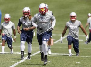 Jun 17, 2014; Foxborough, MA, USA; New England Patriots running back Stevan Ridley (22) during mini camp at Gillette Stadium. Mandatory Credit: Stew Milne-USA TODAY Sports