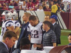 Tom Brady seems unhappy to be sidelined in the Patriots preseason game one against the Redskins. Photo Credit Colette Ricker