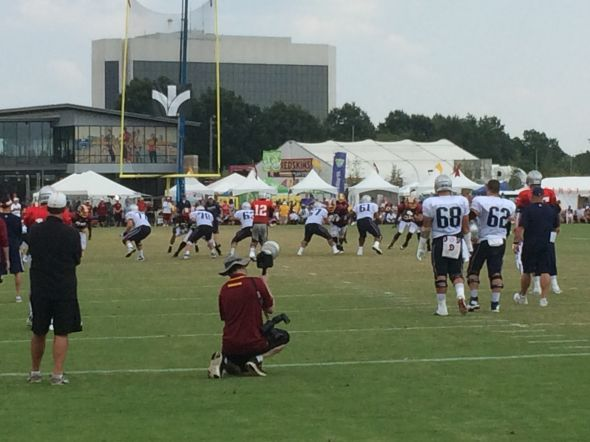 Tom Brady takes snaps in 11 on 11 drills against the Washington Redskins at joint Practice in Richmond Va. Photo Credit Steven Ricker