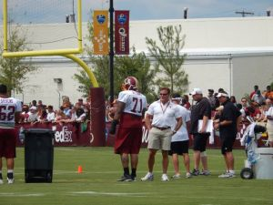 Dr Higgs observes at Redskins Training camp in Richmond Va