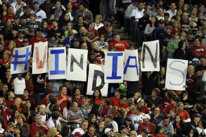 Sep 25, 2013; Cleveland, OH, USA; Fans hold up signs during a game between the Cleveland Indians and the Chicago White Sox at Progressive Field. Mandatory Credit: David Richard-USA TODAY Sports