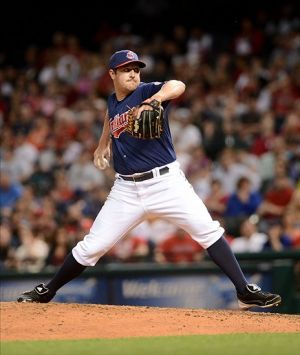 May 1, 2013; Cleveland, OH, USA; Cleveland Indians relief pitcher Bryan Shaw (27) throws a pitch in the sixth inning against the Philadelphia Phillies during the game at Progressive Field. Mandatory Credit: Eric P. Mull-USA TODAY Sports