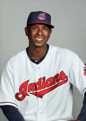 Feb 24, 2014; Goodyear, AZ, USA; Cleveland Indians outfielder Nyjer Morgan takes part in the annual photo day at Goodyear Ballpark. Mandatory Credit: Lance Iversen-USA TODAY Sports