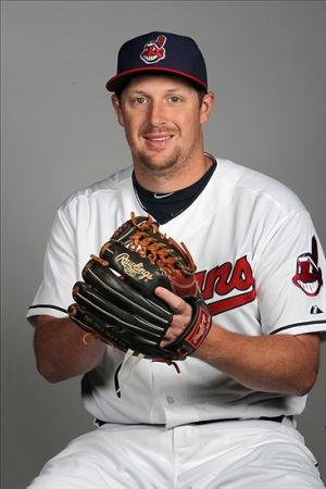 Feb 24, 2014; Goodyear, AZ, USA; Cleveland Indians pitcher Bryan Shaw takes part in the annual photo day at Goodyear Ballpark. Mandatory Credit: Lance Iversen-USA TODAY Sports
