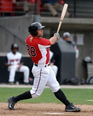 The hot bat of Anthony Gallas led to a promotion to Akron, where he has continued to thrive. (Credit: Carolina Mudcats and Cleveland.com)