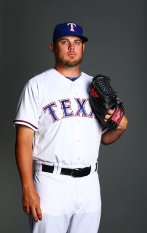 Feb 25, 2014; Surprise, AZ, USA; Texas Rangers pitcher Cory Burns poses for a portrait during photo day at Surprise Stadium. Mandatory Credit: Mark J. Rebilas-USA TODAY Sports