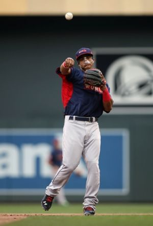 Jul 13, 2014; Minneapolis, MN, USA; World shortstop Francisco Lindor throws the ball during the All Star Futures Game at Target Field. Mandatory Credit: Jerry Lai-USA TODAY Sports
