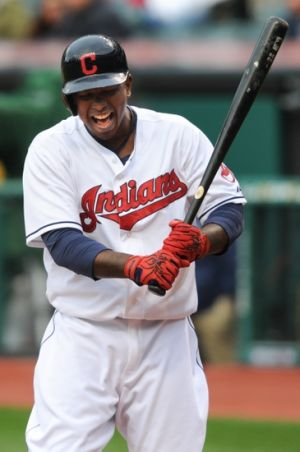 May 5, 2014; Cleveland, OH, USA; Cleveland Indians center fielder Nyjer Morgan (6) at Progressive Field. Mandatory Credit: Ken Blaze-USA TODAY Sports