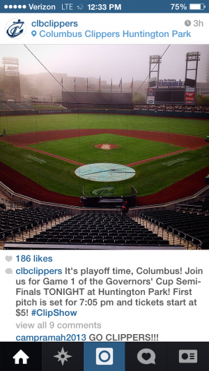 The Columbus Clippers play host to the Durham Bulls at Huntington Park in Game 1 tonight in downtown Columbus.- Photo courtesy of the Columbus Clippers Instagram page.