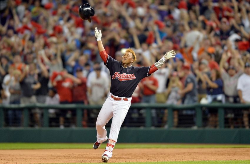 Sep 17, 2016; Cleveland, OH, USA; Cleveland Indians third baseman Jose Ramirez (11) celebrates after hitting a game-winning single during the tenth inning against the Detroit Tigers at Progressive Field. The Indians won 1-0. Mandatory Credit: Ken Blaze-USA TODAY Sports