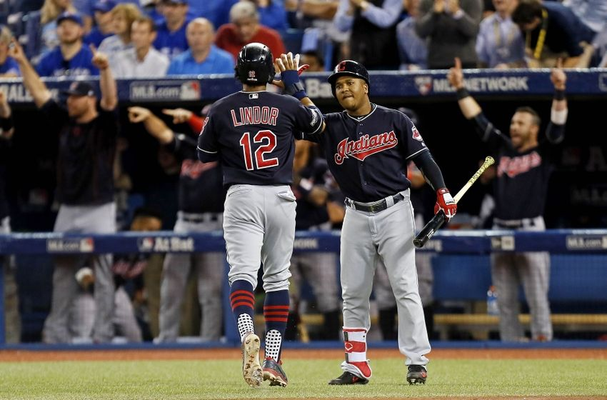 Oct 19, 2016; Toronto, Ontario, CAN; Cleveland Indians shortstop <a rel=
