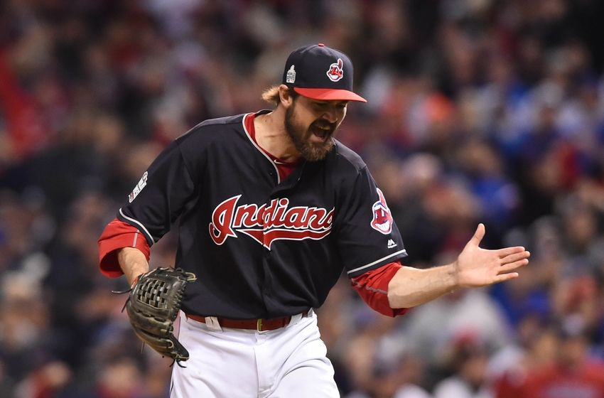 Oct 25, 2016; Cleveland, OH, USA; Cleveland Indians relief pitcher Andrew Miller reacts after striking out Chicago Cubs catcher <a rel=