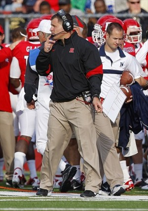 Oct 15, 2011; Piscataway, NJ, USA; Rutgers Scarlet Knights head coach Greg Schiano during the second half against the Navy Midshipmen at High Point Solutions Stadium. Mandatory Credit: Jim O