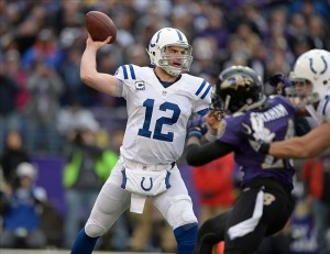 Jan 6, 2013; Baltimore, MD, USA; Indianapolis Colts quarterback Andrew Luck (12) throws a pass against the Baltimore Ravens in the AFC Wild Card playoff game at M
