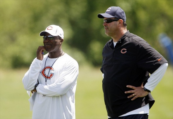 May 23, 2012; Lake Forest, IL, USA; Chicago Bears head coach Lovie Smith and offensive coordinator Mike Tice in attendance during organized team activities at Halas Hall. Mandatory Credit: Jerry Lai-USA TODAY Sports