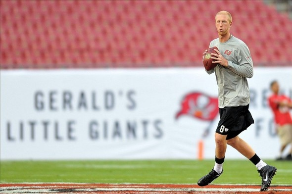 Oct 24, 2013; Tampa, FL, USA; Tampa Bay Buccaneers quarterback Mike Glennon (8) warms up before a gam against the Carolina Panthers at Raymond James Stadium. Mandatory Credit: Steve Mitchell-USA TODAY Sports