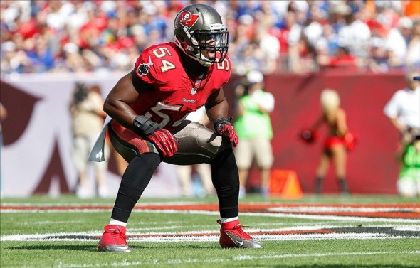 Dec 8, 2013; Tampa, FL, USA; Tampa Bay Buccaneers outside linebacker Lavonte David (54) against the Buffalo Bills during the first quarter at Raymond James Stadium. Mandatory Credit: Kim Klement-USA TODAY Sports
