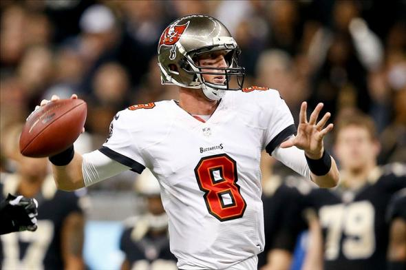Dec 29, 2013; New Orleans, LA, USA; Tampa Bay Buccaneers quarterback Mike Glennon (8) against the New Orleans Saints during the first half of a game at the Mercedes-Benz Superdome. Mandatory Credit: Derick E. Hingle-USA TODAY Sports