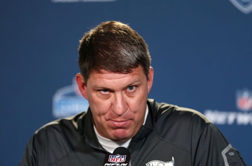 Feb 18, 2015; Indianapolis, IN, USA; Tampa Bay Buccaneers general manager Jason Licht speaks at a press conference during the 2015 NFL Combine at Lucas Oil Stadium. Mandatory Credit: Brian Spurlock-USA TODAY Sports